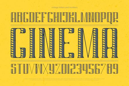 빈티지 알파벳 문자와 숫자입니다. 벡터 글꼴 유형 디자인입니다. 장식 레터링 기호. 양식에 일치시키는 복고풍 조판. 정규 대문자 서체 템플릿