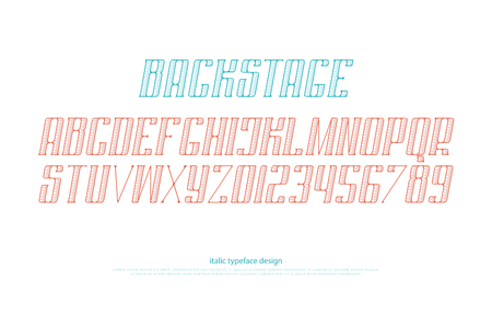 italic alphabet letters and numbers. vector font type design. slanted lettering symbols. stylized, inclined typesetting. oblique, retro typeface template Illustration