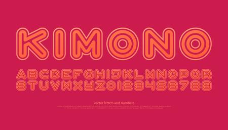 산 세리프 스타일의 알파벳 문자와 숫자. 벡터, 글꼴 유형 디자인. 라운드 개요, 일반 레터링. 스타일리쉬 한 선형 조판. 트렌디 한 컨투어 활자체.