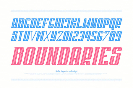 italic alphabet letters and numbers. vector, bold font type design. slanted lettering symbols. stylized, inclined typesetting. oblique typeface template
