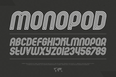 경사 회로 스타일 알파벳 문자와 숫자입니다. 벡터, 기울임 꼴 글꼴 유형. 비스듬한 서체 디자인. 기울어 진 현대 조판 일러스트