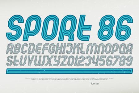 스포츠 스타일 알파벳 문자와 숫자입니다. 벡터, 기울임 꼴 글꼴 유형. 복고풍 서체 디자인입니다. 기울어 진 동적 조판 일러스트
