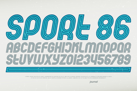 sport style alphabet letters and numbers. vector, italic font type. retro typeface design. slanted, dynamic typesetting