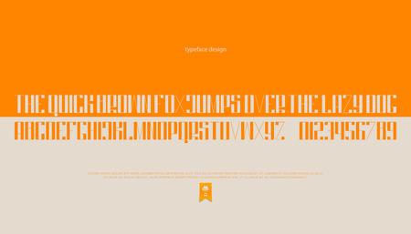 최소한의 스타일 알파벳 문자와 숫자. 벡터 글꼴 유형 디자인입니다. 장식 레터링 기호. 양식에 일치시키는, 오렌지 조판. 일반 서체 템플릿 일러스트