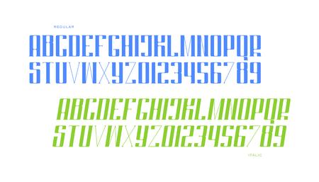 일반 및 기울어 진 스타일의 알파벳 문자 및 숫자. 벡터 글꼴 유형 디자인입니다. 빈티지 레터링 기호. 양식화, 이탤릭체 조판. 고전 서체 템플릿 일러스트