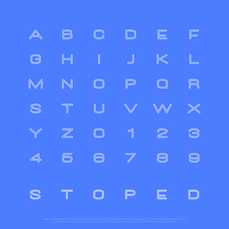 세련 된 컨투어 알파벳 문자와 숫자입니다. 벡터, 선형 글꼴 유형. 얇은 줄 서체 디자인. 현대식, 손으로 그린 조판