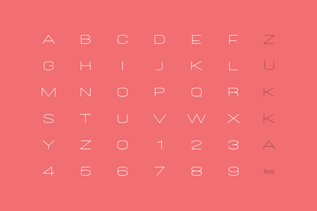 set of stylish alphabet letters and numbers. vector, linear font type. thin line typeface design. contemporary, hand drawn typesetting