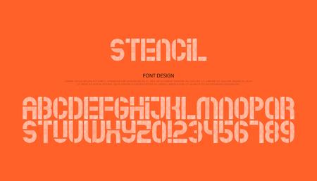 스텐실 알파벳 문자와 숫자. 벡터, 기하학적 글꼴 유형. 일반 서체 디자인. 현대적이고 세련된 패턴 조판 일러스트