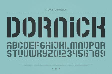 스텐실 알파벳 문자와 숫자. 벡터, 기하학적 글꼴 유형. 일반 서체 디자인. 복고풍, 세련된 조판