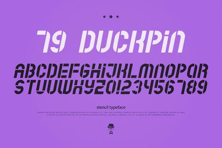 오블 리크 스텐실 알파벳 문자와 숫자. 벡터, 기울임 꼴 글꼴 유형. 경 사진 서체 디자인. 기울어 진, 세련된 조판