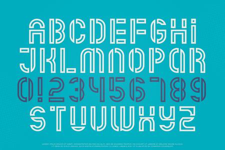 스텐실 알파벳 문자와 숫자. 벡터, 개요 글꼴 유형. 일반 서체 디자인. 중간 윤곽선 조판