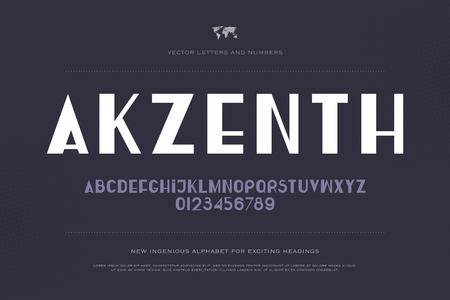 세련 된 알파벳 문자와 숫자입니다. 벡터, 중간 글꼴 유형. 정규 액센트 서체 디자인. 현대식, 양식화 된 조판 일러스트