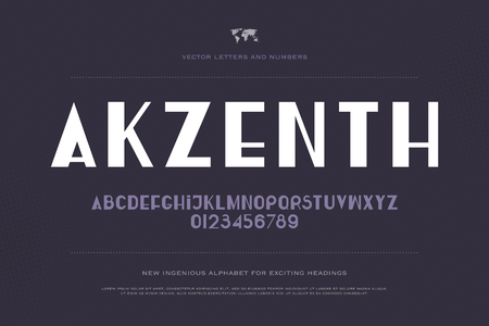 stylish alphabet letters and numbers. vector, medium font type. regular, accented typeface design. contemporary, stylized typesetting