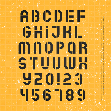 stencil alphabet letters and numbers. vector, geometric font type. regular typeface design. retro, stylish typesetting 向量圖像