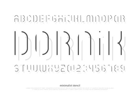 스텐실 알파벳 문자와 숫자. 벡터, 밝은 글꼴 유형. 일반 서체 디자인. 얇은 선, 양식화 된 조판