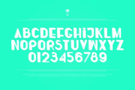 세련 된, 흰색 알파벳 문자와 숫자입니다. 벡터, 굵게 글꼴 유형. 정규 액센트 서체 디자인. 현대적이고 트렌디 한 조판 일러스트
