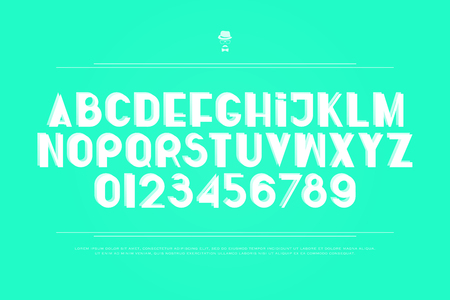 stylish, white alphabet letters and numbers. vector, bold font type. regular, accented typeface design. contemporary, trendy typesetting