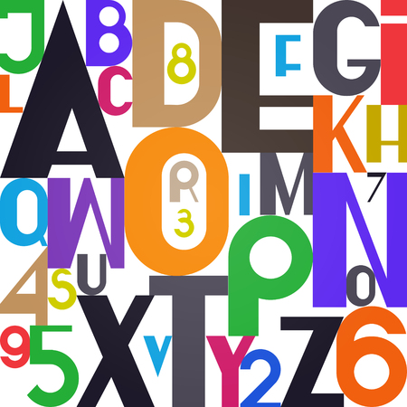 stylish alphabet letters and numbers. vector, bold font type. regular, accented typeface design. contemporary, colorful typesetting