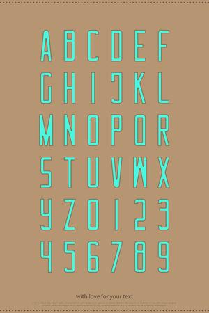 알파벳 문자와 숫자입니다. 벡터 글꼴 유형 디자인입니다. 현대 레터링 기호. 중간 윤곽 조판. 등고선 서체 템플릿 일러스트