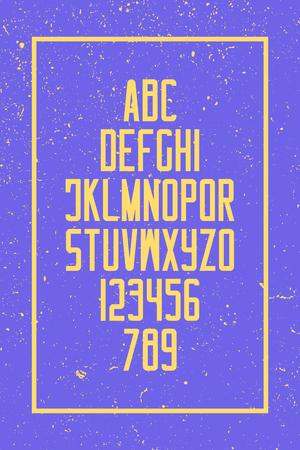 그런 지 스타일 알파벳 문자와 숫자입니다. 벡터, 레트로 글꼴 유형 디자인. 빈티지 레터링. 유행, 높은 조판. 대담한 서체 템플릿