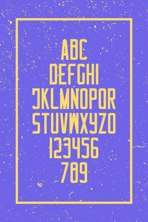 Grunge style alphabet letters and numbers. vector, retro font type design. vintage lettering. trendy, high typesetting. bold typeface template 일러스트