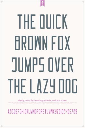 알파벳 문자와 숫자입니다. 벡터 글꼴 유형 디자인입니다. monospaced 문자 기호입니다. 산 세리프 윤곽 조판. 표시 서체 템플릿 일러스트