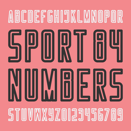 stylish sport team alphabet letters and numbers. vector, vintage font type. regular typeface design. retro, outline typesetting 向量圖像