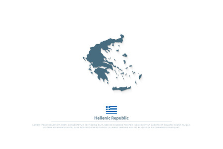 Hellenic Republic isolated map and Greek official flag icons. vector Greece political map logo. European country geographic banner template Çizim