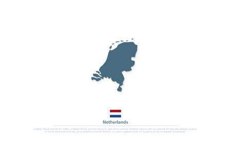 Kingdom of the Netherlands isolated map and official flag icons. vector Dutch political map illustration. EU geographic banner template. travel and business concept maps Illustration