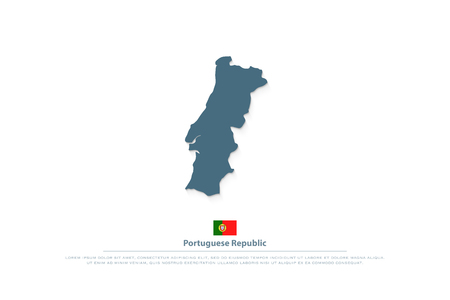 Portuguese Republic isolated map and official flag icon. vector Portugal political map illustration. European State travel logotype