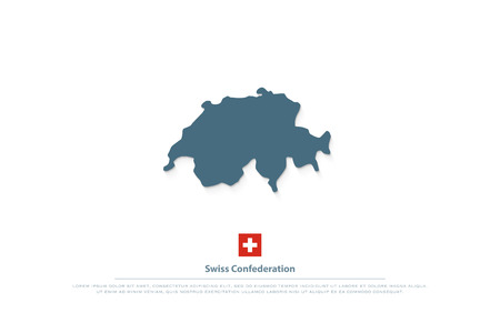 Swiss Confederation map and official flag. vector Switzerland political map illustration. European State geographic banner template. travel and business logo