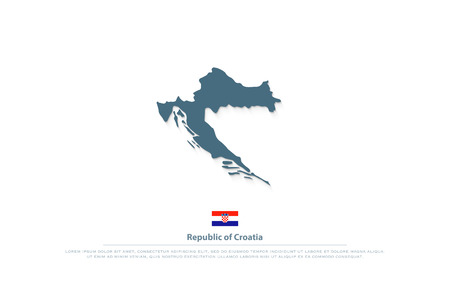 Republic of Croatia isolated map and official flag icons. vector Croatian political map illustration. Central Europe country geographic logotype Illusztráció