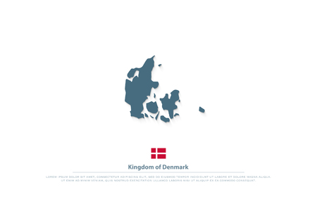 Kingdom of Denmark isolated map and official flag icons. Illustration