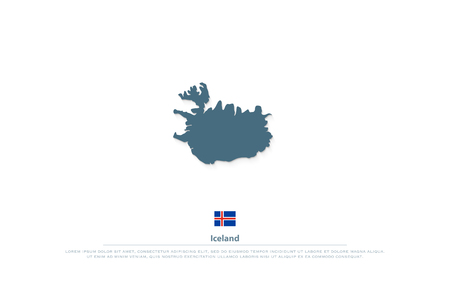 Republic of Iceland isolated map and official flag icons.