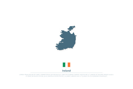 Republic of Ireland isolated maps and official flag icon.