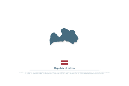 Republic of Latvia isolated maps and official flag icon.