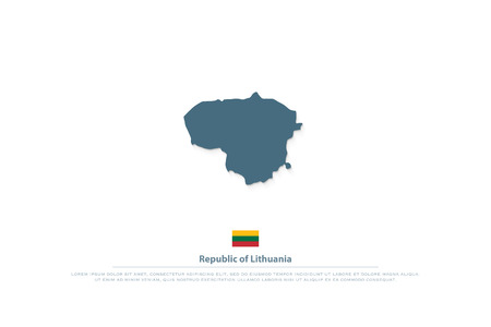 Republic of Lithuania isolated map and official flag icon.