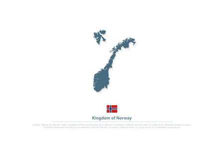 Kingdom of Norway isolated maps and official flag icon. Stock Illustratie
