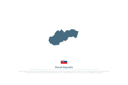Slovak Republic isolated map and official flag icon. vector Slovak territory logotype. European country geographic banner template. travel and business logo