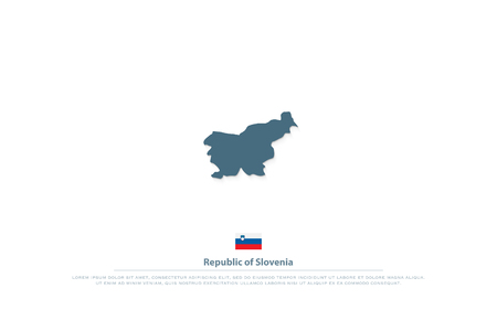 Republic of Slovenia isolated map and official flag icon. Illustration