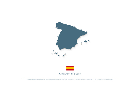 Kingdom of Spain isolated map and official flag icon. vector Spanish territory logo. EU geographic banner template. travel and business logotype