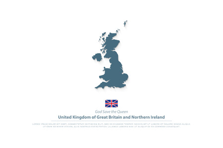 United Kingdom of Great Britain and Northern Ireland map and official flag icon. Illustration