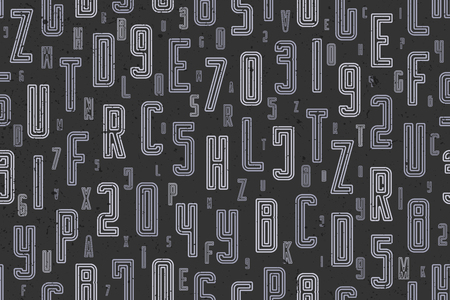 abstract, seamless pattern with alphabet letters ornament on black. vector, lettering style background. 일러스트