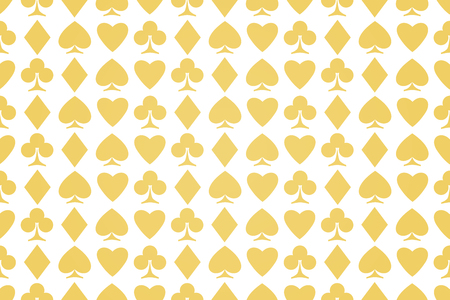 seamless pattern of playing card suits on white. vector, golden background design. hearts, spades, diamonds and clubs symbol. casino and poker rooms wallpaper