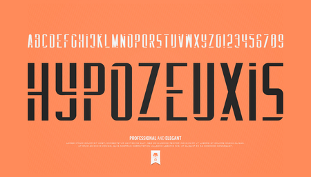stencil alphabet letters and numbers. vector, geometric font type. regular typeface design. contemporary, stylish typesetting