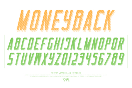 bank notes alphabet letters and numbers. vector, money font type design. currency lettering slanted symbols. stylish, oblique typesetting. italic, sans serif typeface Illustration
