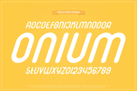 Set of italic style alphabet letters and numbers vector. Oblique font type design. Bold, sloping typeface inclined round typeset.