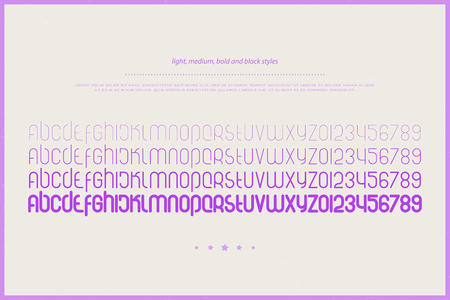 Set of stylized alphabet letters and numbers. vector font type design. Light, medium and bold typeface.