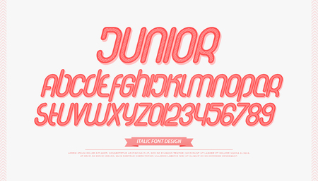 Set of cartoon style alphabet letters and numbers.