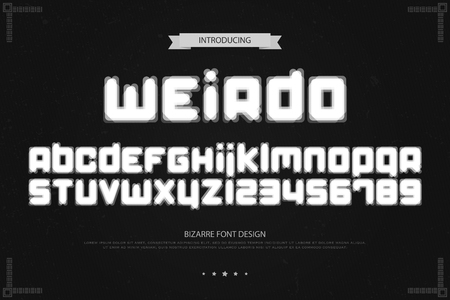 Weird style alphabet letters and numbers. Vector, bizarre font type design. Glitch lettering symbols. Stylish, blur typesetting. Optical illusion typeface template.